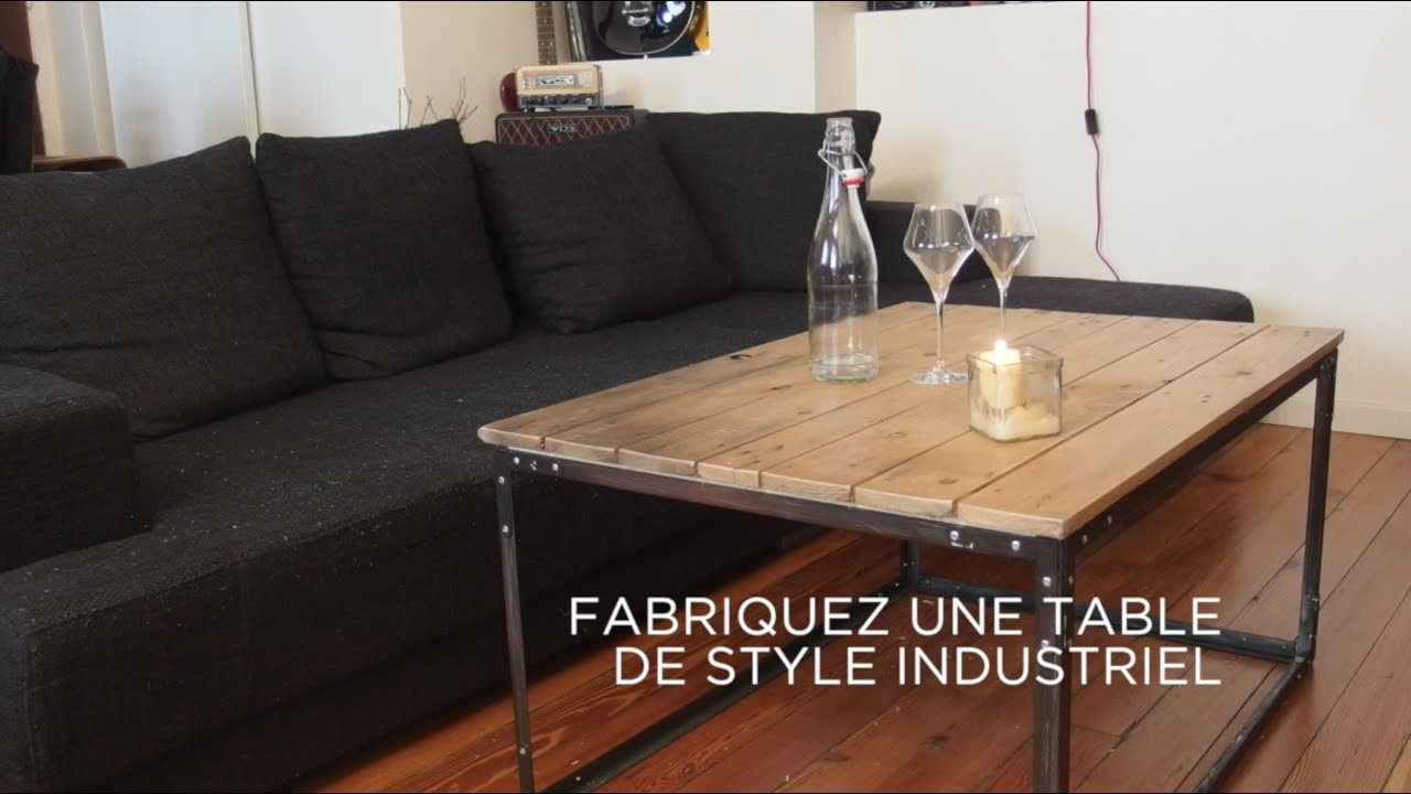 Diy fabriquez une table de style industriel youtube for Table de salon industriel