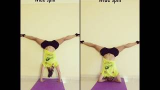 yoga handstand headstand with wide splits