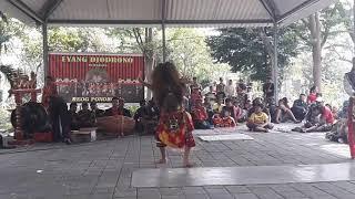 Eyang Djodrono bersama Reog Surabaya HIPREJS dalam acara tampilan rutin di Taman Wonorejo Surabaya
