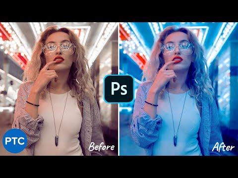 Futuristic Neon Portrait Color Effect In Photoshop! [CYBERPUNK Color Grade]