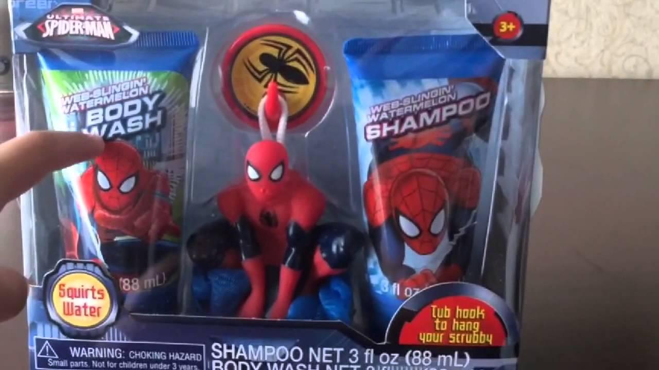 Ultimate Spider-Man Soap & Scrub set bath toy - YouTube