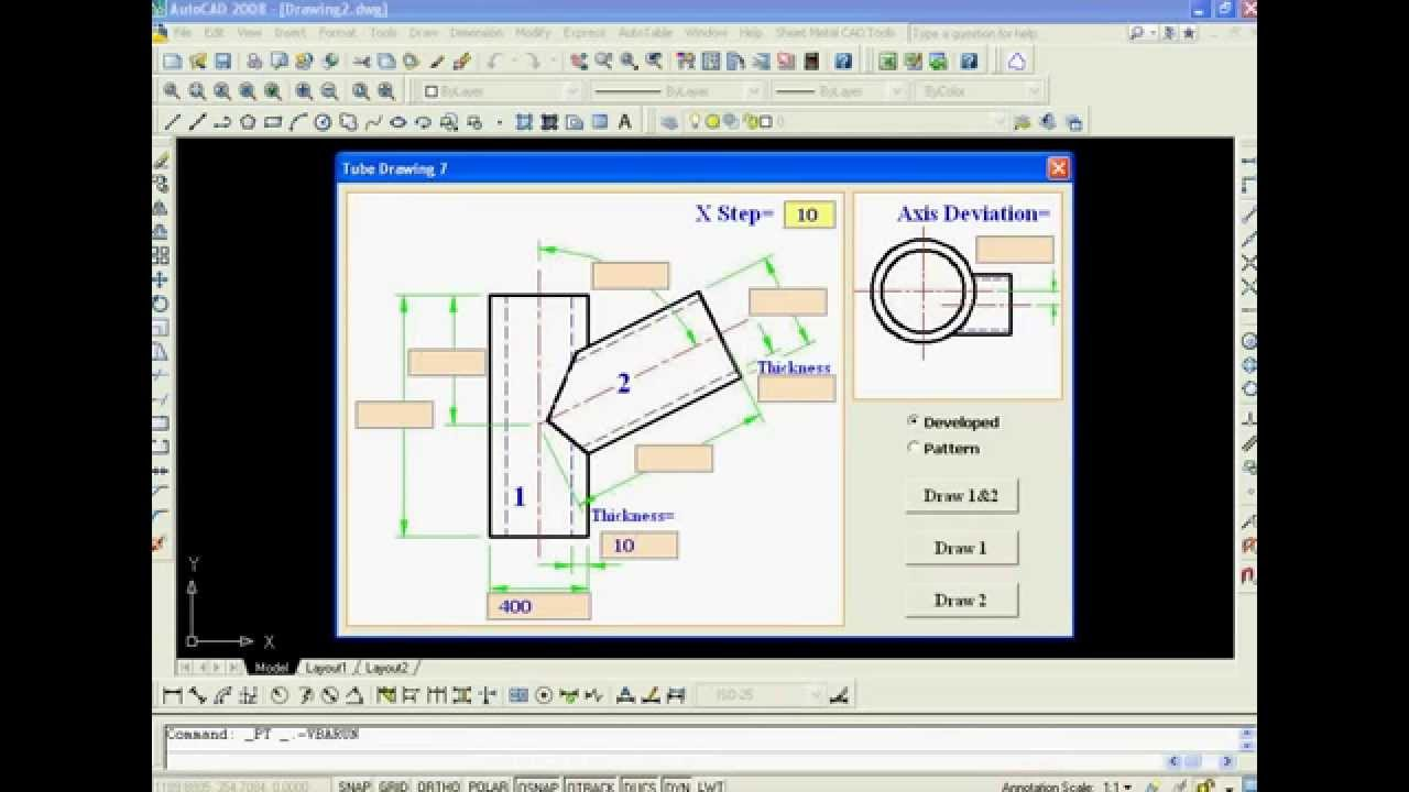 Example of automatic drawing in AutoCAD by VBA (Sheet Metal Pipe2)