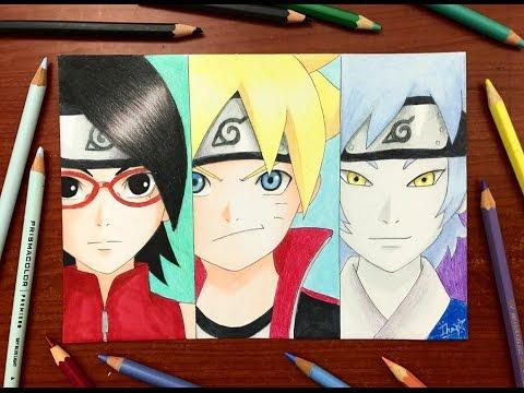 Speed Drawing - Boruto X Sarada X Mitsuki (Naruto: The Movie) [HD]