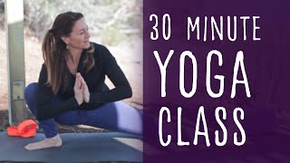 30 Min Vinyasa Flow to Kurmasana (Tortoise) Yoga with Fightmaster Yoga