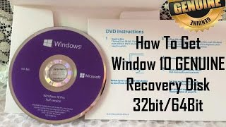 [Hindi- हिंदी] How to Get Window 10 GENUINE Recovery Disk 32/64 bit||WATCH IN 720p||