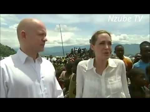 Angelina Jolie et William Hague a Kivu, RDC pour le support de victime de Genocide et de viol