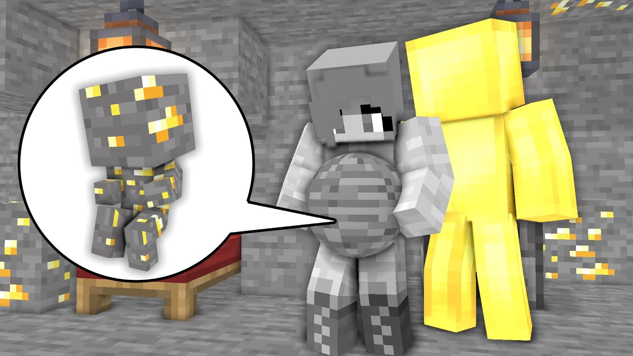 Monster School: How Stone Girl Born Baby Gold ore! Gold Man Birth Family - Minecraft Animation