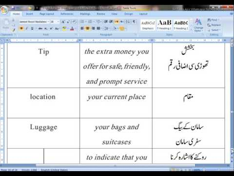 Part Four Vocabulary For Taxi Drivers In English With Urdu Translation
