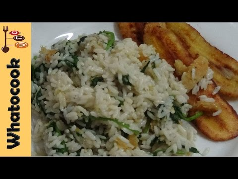 How To Make Trinidad 🇹🇹 Spinach Rice & Saltfish Served With Fried Plantain