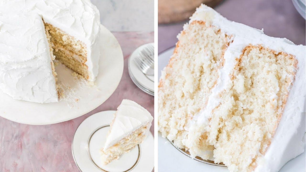 Moist White Cake with that Wedding Cake Taste - YouTube