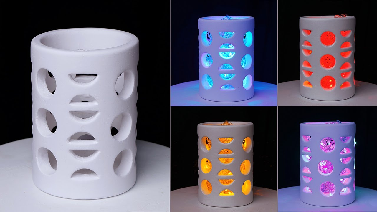 Cement Table lamp making || Lighting corner Flower vase || Table lamp Flower Vase making