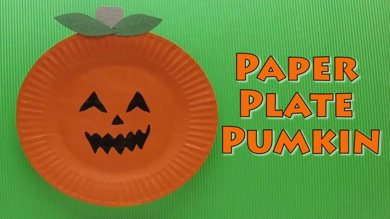 sc 1 st  YouTube & Halloween Craft - Paper Plate Pumpkin - Paper Plate Craft - YouTube