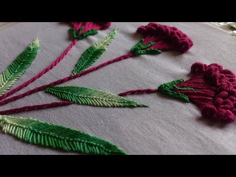 Hand embroidery designs. Embroidery stitches tutorial. Flower stitch.