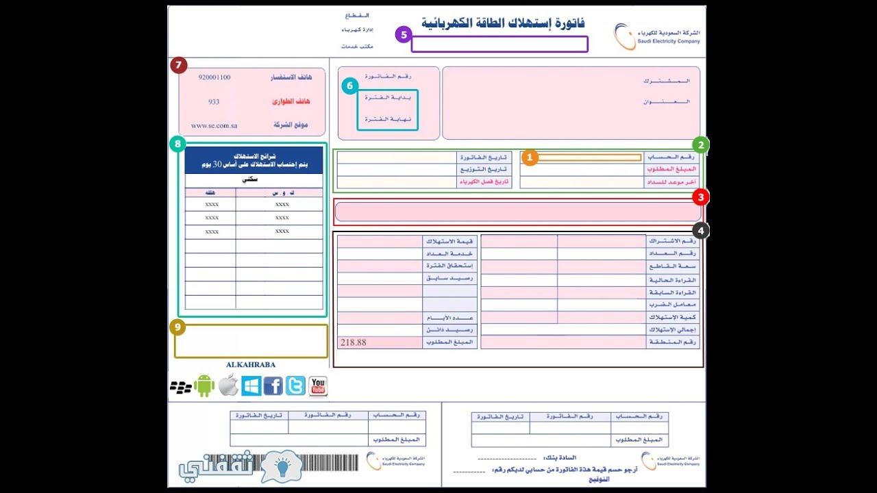 خطوات استعلام فاتورة الكهرباء السعودية إلكترونيا برقم الحساب أو رقم العداد Youtube