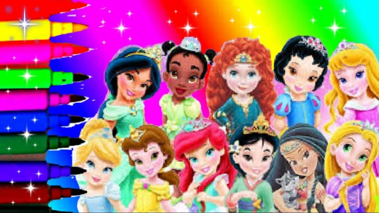 Baby Disney Princess Coloring Book Pages Tiana Mulan Belle Ariel Jasmine Beauty Aurora Swhite Merida