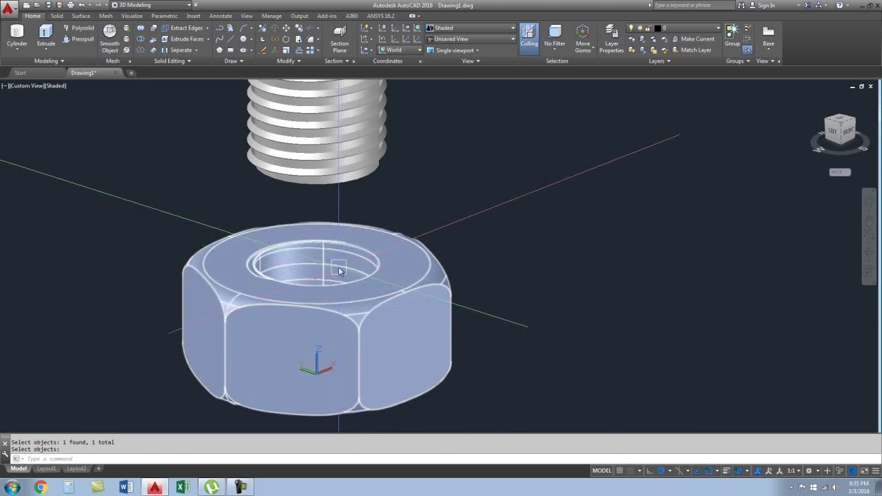 bolt and nut in autocad