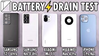 Samsung S21 Ultra vs Note 20 Ultra / Mi 11 / Mate 40 Pro / iPhone 12 Pro Max Battery Life DRAIN Test