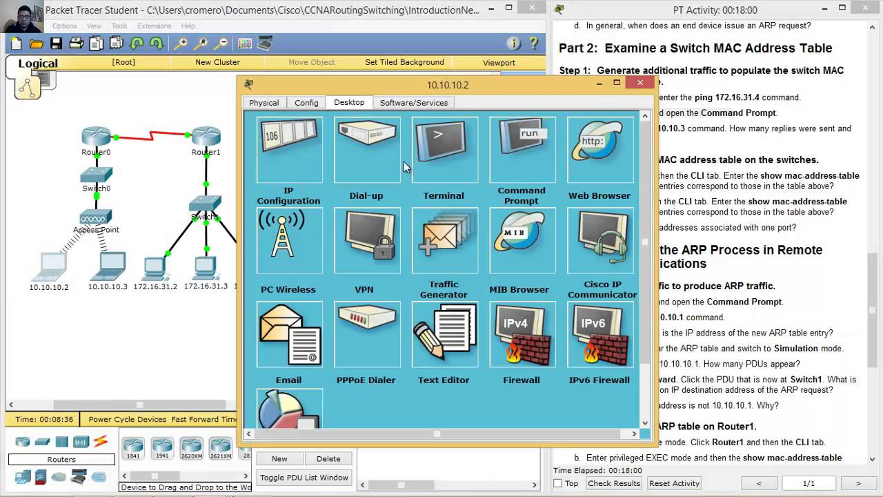 5 3 2 8 Packet Tracer - Examine the ARP Table