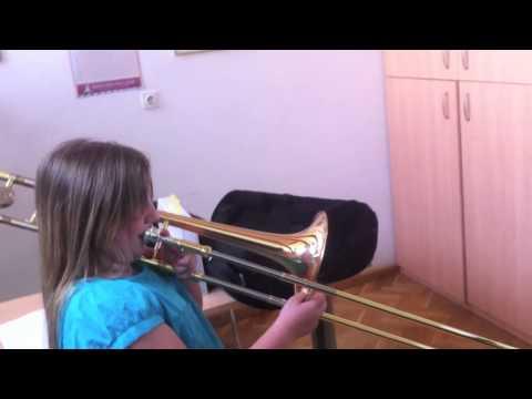 10 years girl playing trombone, beautiful tone