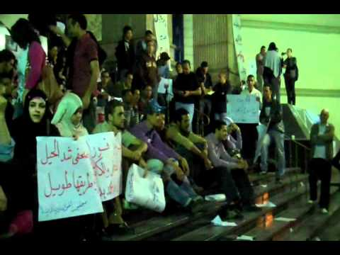 Activists protest on the steps of Cairo's journalists' syndicate