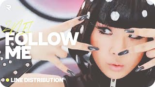2NE1 (투애니원) — FOLLOW ME » Line Distribution (Color Coded)