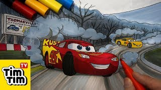 How to draw Cars 3 Thomasville Speedway with Lightning McQueen & Cruz Ramirez Easy step by step