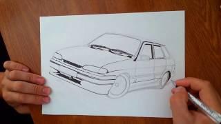 как нарисовать ВАЗ 2114(ваз 2114 простым карандашом., 2016-07-19T08:51:10.000Z)