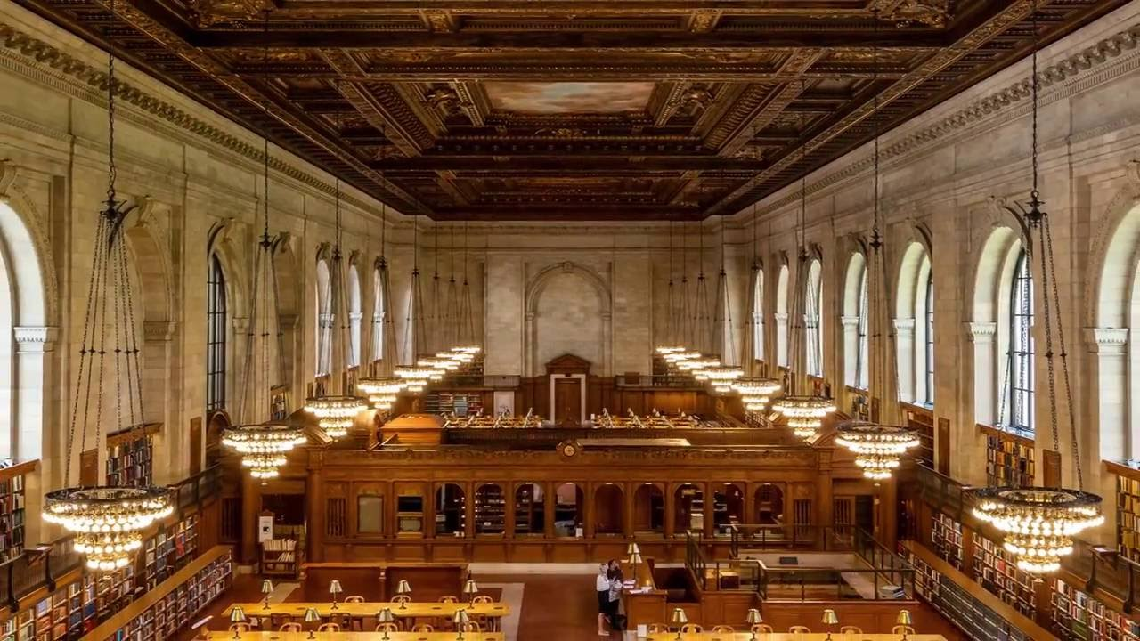 time lapse thousands of books get reshelved before the rose main