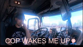 Cop knocks on door, delivering load to Morris IL, rookie truck driver delivers ( Trucker Vlog #24 )