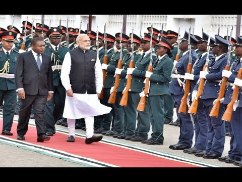 PM Modi at the Ceremonial Welcome in Mozambique