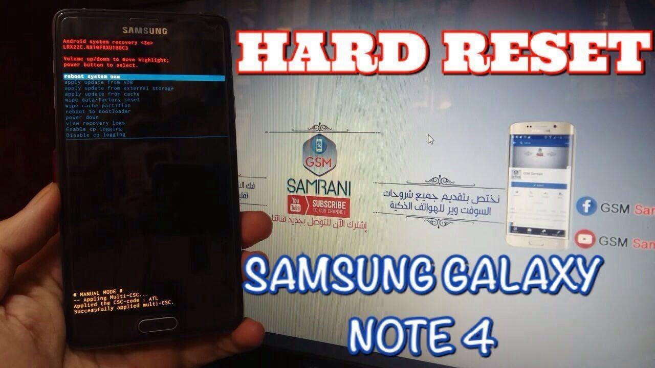 HARD RESET SAMSUNG GALAXY NOTE 4 SM-N910F REMOVE PATTERN CODE