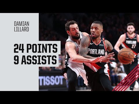 Damian Lillard (24 pts, 9 ast) Highlights vs. San Antonio Spurs | February 7, 2019