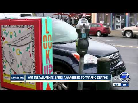 Neon painted utility boxes along East Colfax shed light on Denver's traffic violence