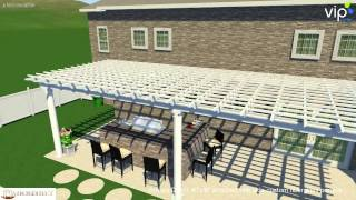 Rbps040 Attached 40' X 16' Fiberglass Pergola