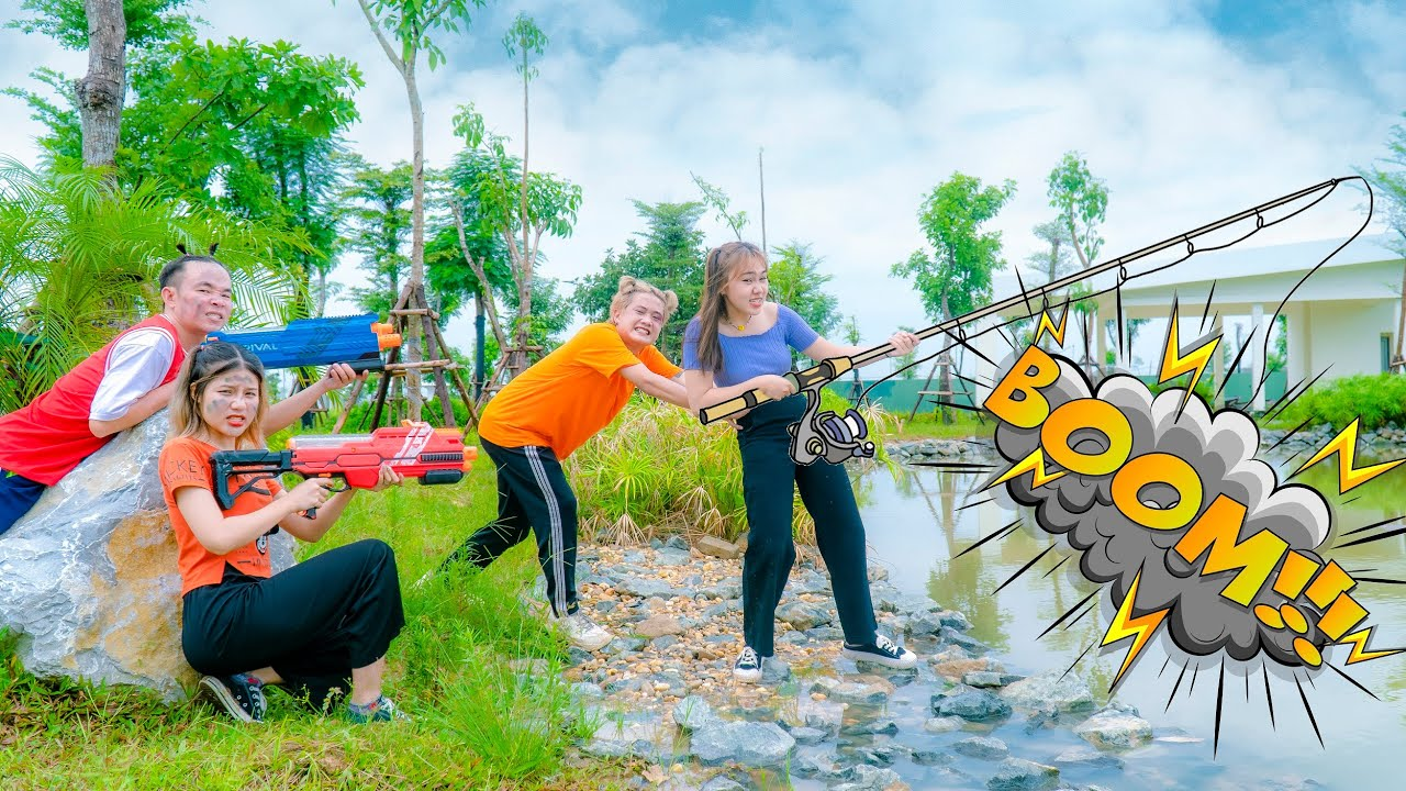 Gugu Nerf War : Nerf Shooter Fishing   Nerf Guns Battle Of Bad Girls And Bad Boys