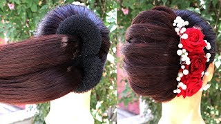 Easy French Roll Hairstyle Step By Step | French Bun Hairstyle For New Year 2020 -wedding hairstyles