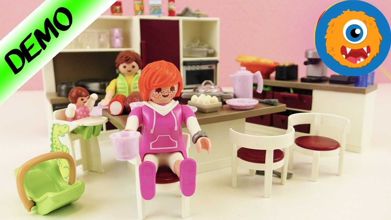 Playmobil big family kitchen english with oven stove for Cuisine playmobil