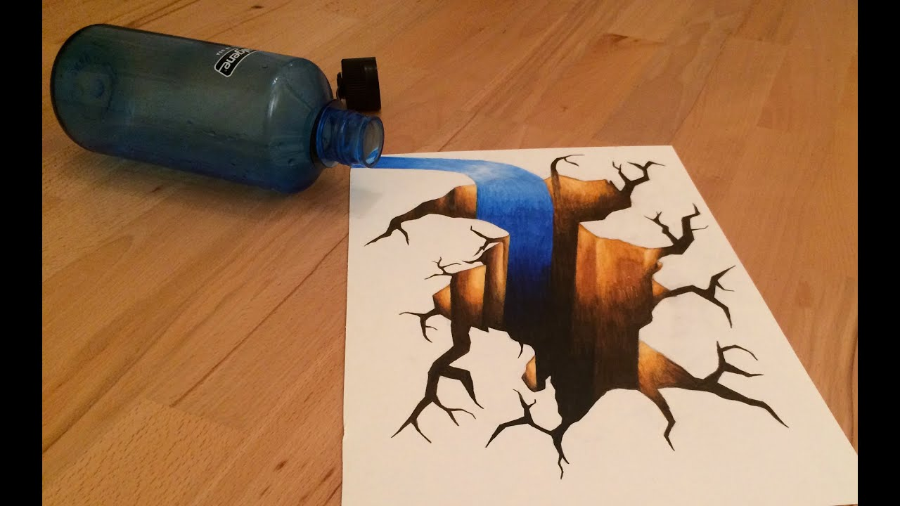 How To Draw A 3d Hole Cracked Floor With Spilled Water