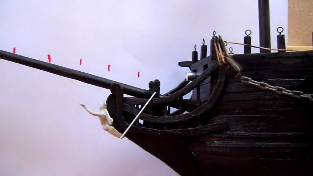 Black pearl model ship cannon fire