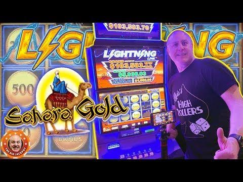 ⚡HUGE JACKPOT ON LIGHTNING LINK! ⚡Sahara Gold PAY$ OUT HUGE! 🎰