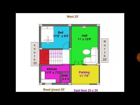 1bhk 24 25 east face duplex house plan map naksha youtube for Naksha for house making