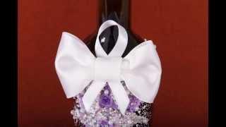 Свадебные аксессуары - бутылка жених в сиреневом