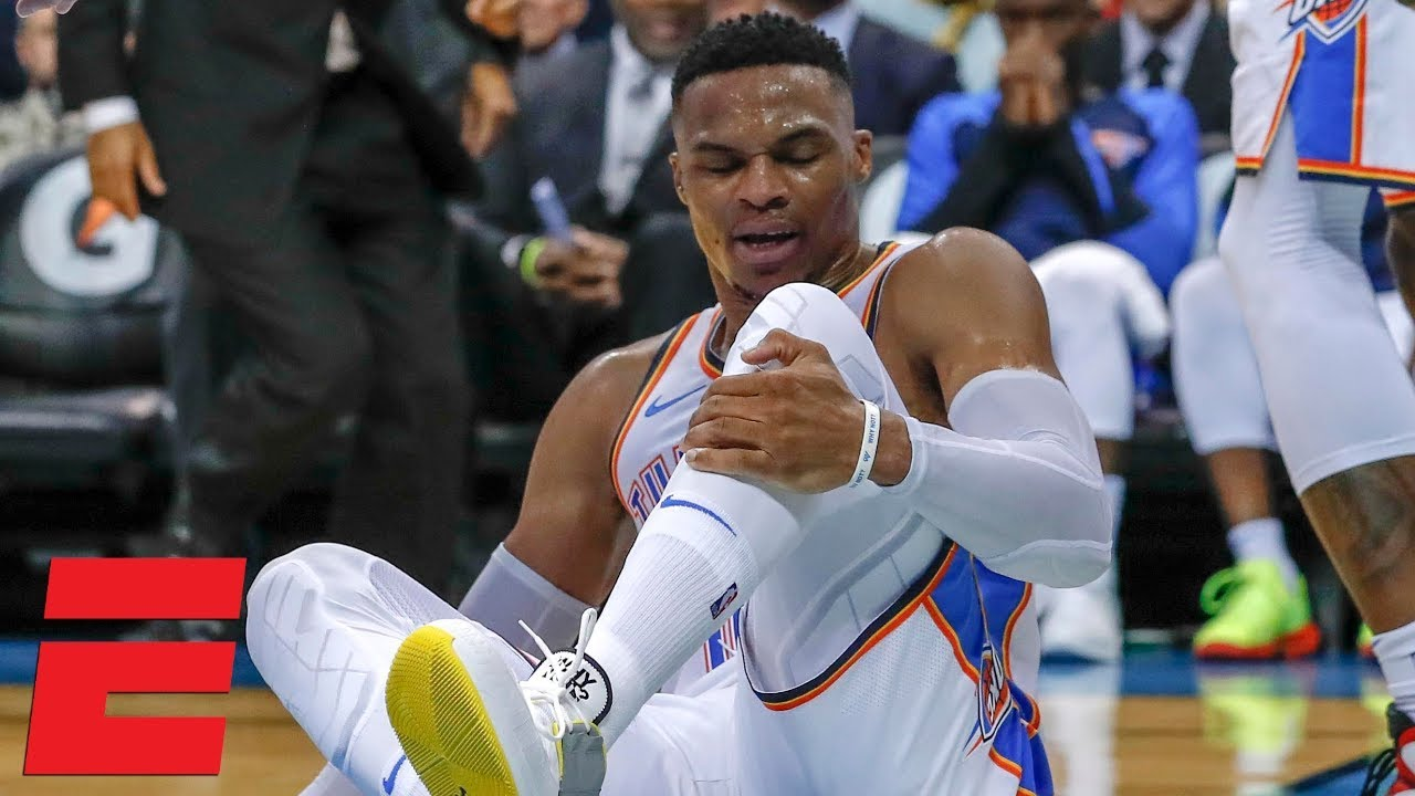 Russell Westbrook sprains ankle in Thunder win vs. Pelicans | NBA Highlights