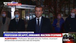 Le discours d'Emmanuel Macron après l'assassinat d'un professeur à Conflans-Saint-Honorine