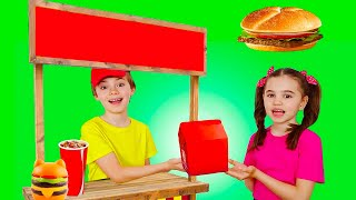 Nick and Poli Pretend Play Happy Meal McDonalds Drive Thru and Other Stories for Kids