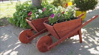 DIY wooden wheelbarrows in the garden
