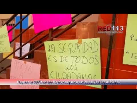 VIDEO Tapizan la DSPM de Los Reyes con pancartas en apoyo a Tepalcatepec
