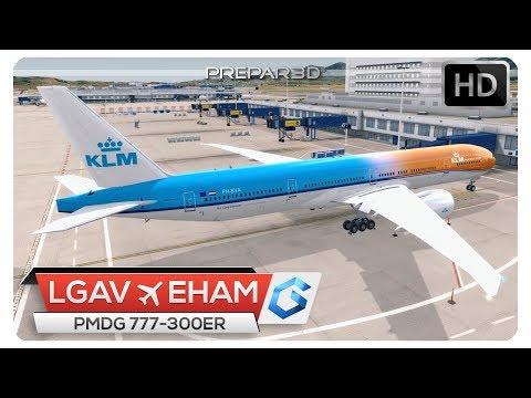 [P3Dv4] PMDG 777 | Weather Deviation at Athens LGAV - EHAM | KLM1576