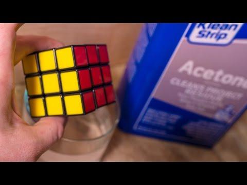 Putting a Rubik's Cube & Lego bricks in Acetone. What Happens?
