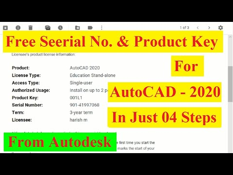 Free Serial Number & Product Key For Autocad 2020